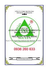 Báo cáo giám sát chất lượng môi trường định kỳ 06 tháng đầu năm 2015 Chủ đầu tư: Công ty TNHH Nhà hàng Nam Phong