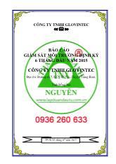Báo cáo giám sát môi trường định kỳ 06 tháng đầu năm 2015 công ty TNHH Glovintec