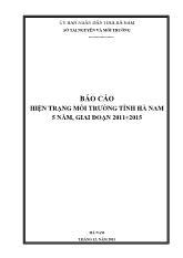 Báo cáo hiện trạng môi trường tỉnh Hà Nam 5 năm, giai đoạn 2011 - 2015