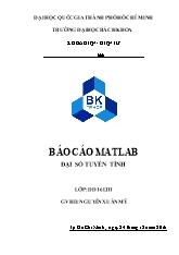 Báo cáo Matlab đại số tuyến tính