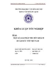 Đề tài Một số giải pháp thu hút khách du lịch úc tới Việt Nam