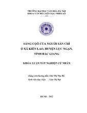 Đề tài Sắng Cộô của người Sán chí ở xã Kiên lao, huyện Lục ngạn, tỉnh Bắc Giang