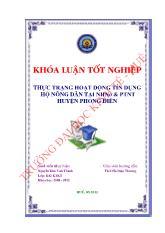 Đề tài Thực trạng hoạt động tín dụng hộ nông dân tại NHNO & PTNT huyện Phong Điền