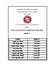 Financing in foreign trade