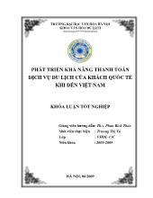 Khóa luận Phát triển khả năng thanh toán dịch vụ du lịch của khách quốc tế khi đến Việt Nam