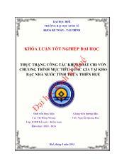 Khóa luận Thực trạng công tác kiểm soát chi vốn chương trình mục tiêu quốc gia tại kho bạc nhà nước tỉnh Thừa Thiên Huế