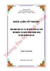 Khóa luận Tình hình cho vay và sử dụng vốn vay của hộ nghèo ở Ngân hàng chính sách xã hội huyện Lộc Hà