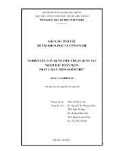 Báo cáo tóm tắt Nghiên cứu xây dựng tiêu chuẩn quốc gia - Kiểm thử phần mềm - Phần 2: Quy trình kiểm thử